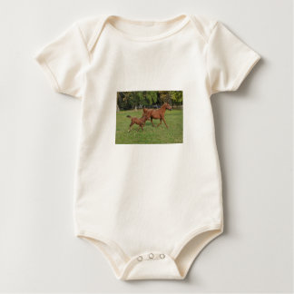 Running Arabian Horses - Mom and Foal Baby Bodysuit