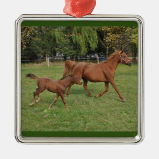 Running Arabian Horses - Mom and Foal Silver-Colored Square Ornament