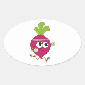 Running Beet Oval Sticker