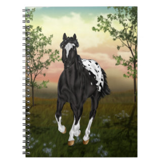 Running Black Appaloosa Horse Notebook
