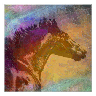 Running Black Horse Head Abstract Perfect Poster