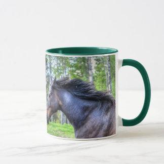 Running Black Thoroughbred Percheron Horse Photo Mug