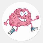 Running Brain Cartoon Character Round Sticker