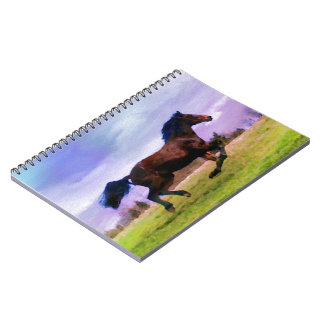 Running Brown Horse Pony Foal Western Equestrian Notebooks