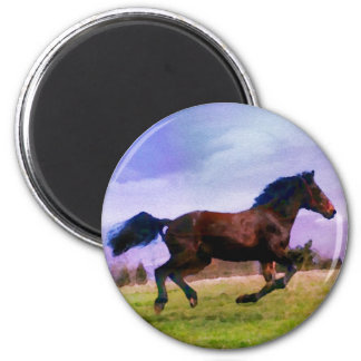 Running Brown Horse Pony Foal Western Watercolor Magnet