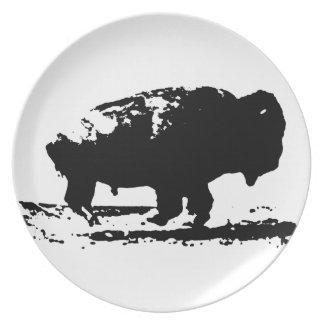 Running Buffalo Bison Pop Art Plate