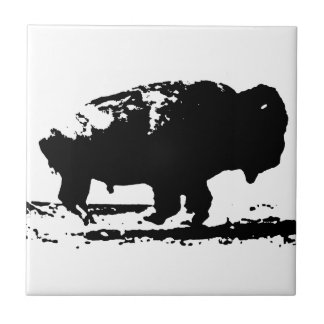 Running Buffalo Bison Pop Art Tile