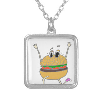 running burger silver plated necklace