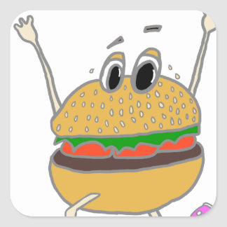 running burger square sticker