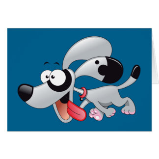 Running Cartoon Dog Gray Spot Card