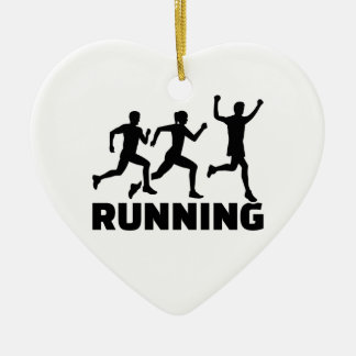 Running champion ceramic heart ornament