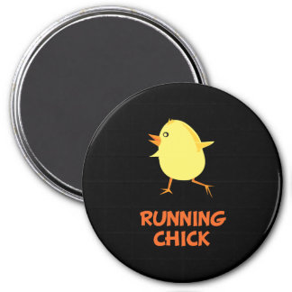 Running Chick 3 Inch Round Magnet