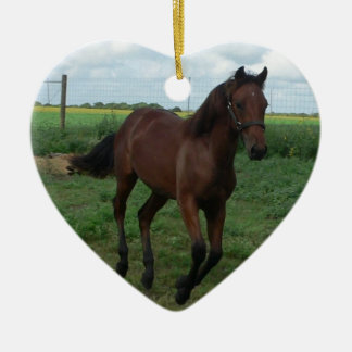 Running Colt Ceramic Heart Ornament