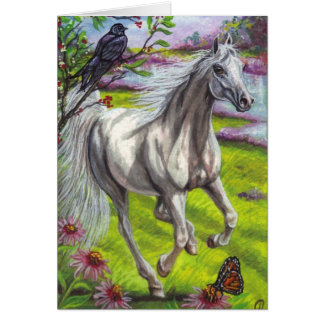 RUNNING DAPPLE HORSE Note Card