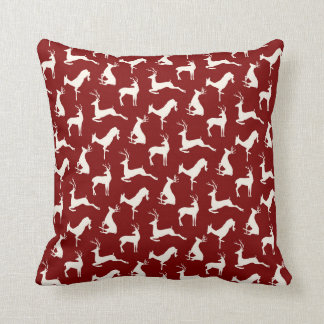 Running Deer and Buck Pattern in Red Throw Pillow