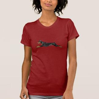 Running Doberman, Black T-Shirt