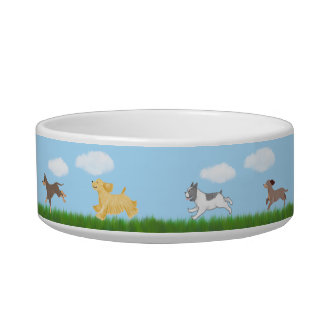 Running Dogs Illustrated Food Bowl