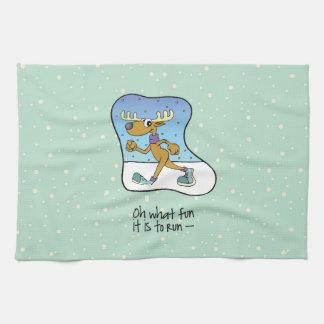 Running Exercise Reindeer Christmas Kitchen Towel