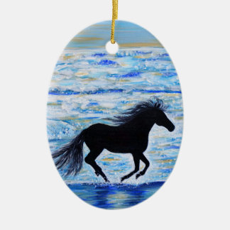 Running Free by the Sea Ceramic Ornament