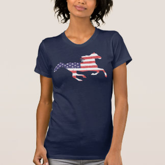 Running Free Horse featuring the American Flag T-Shirt