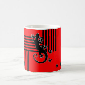 Running Gecko - black & red stripes abstract Coffee Mug