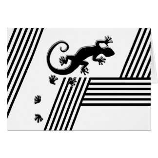 Running Gecko - black & white stripes abstract2 Card