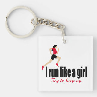 Running girl Double-Sided square acrylic keychain