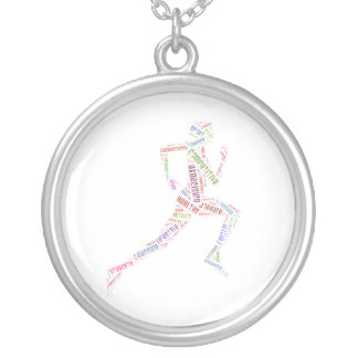 Running girl silver plated necklace