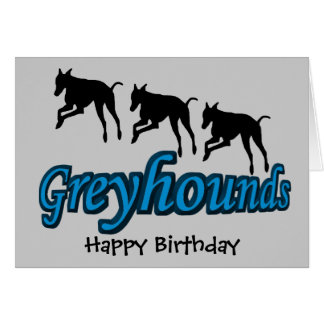 Running Greyhounds Dog Birthday Card