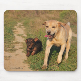 Running happy  Dachshund & Labrador Mouse Pad
