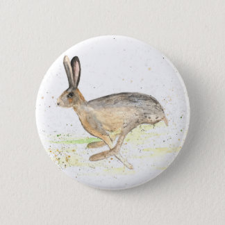 Running hare watercolour 2 inch round button
