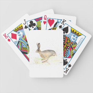 Running hare watercolour bicycle playing cards