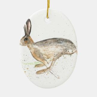 Running hare watercolour ceramic ornament