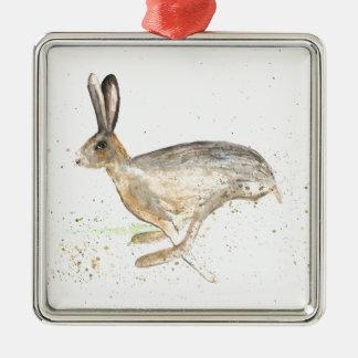 Running hare watercolour metal ornament