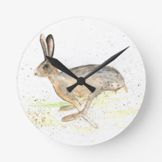 Running hare watercolour round clock