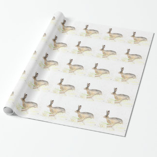 Running hare watercolour wrapping paper