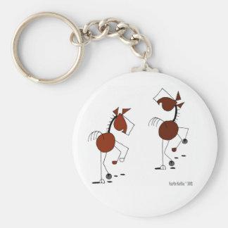 Running Horse Cartoon. Basic Round Button Keychain