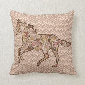 Running Horse Silhouette, Brown, Tan, and Cream Throw Pillow
