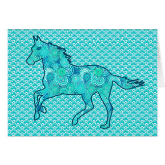 Running Horse Silhouette, Turquoise and Aqua Card