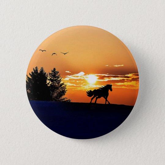 running horse  - sunset horse - horse 2 inch round button