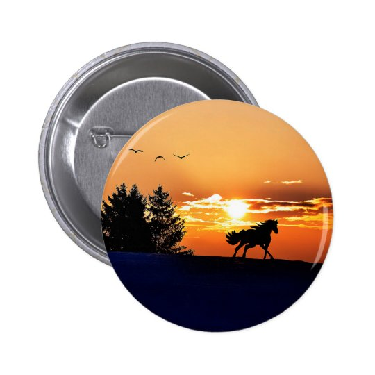 running horse  - sunset horse - horse 2 inch round button