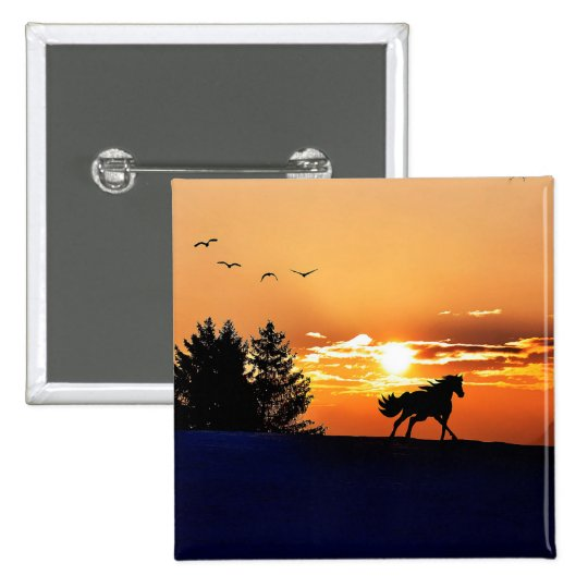 running horse  - sunset horse - horse 2 inch square button
