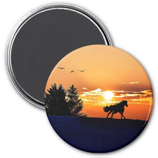 running horse  - sunset horse - horse 3 inch round magnet