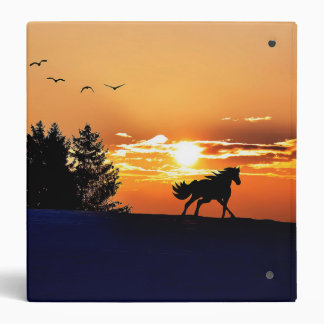 running horse  - sunset horse - horse 3 ring binder