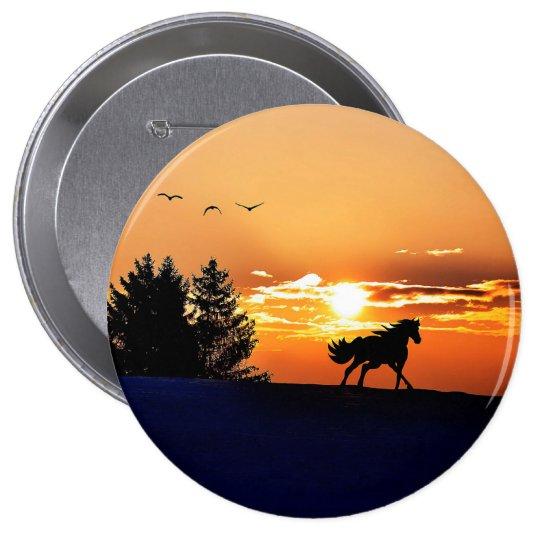 running horse  - sunset horse - horse 4 inch round button
