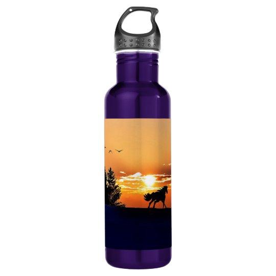 running horse  - sunset horse - horse 710 ml water bottle