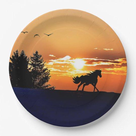 running horse  - sunset horse - horse 9 inch paper plate