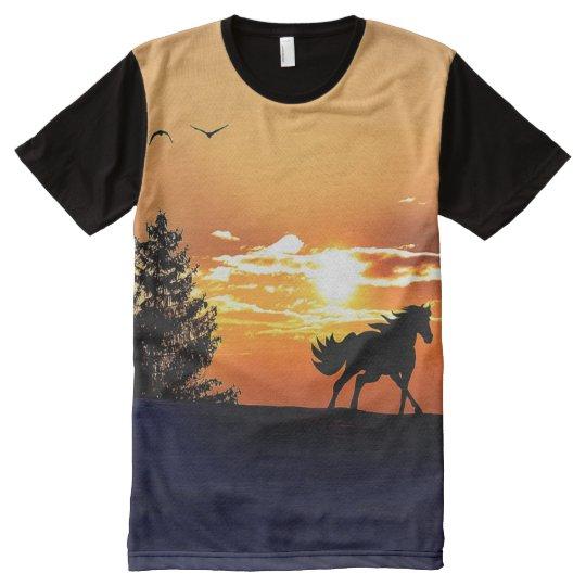 running horse  - sunset horse - horse All-Over-Print T-Shirt