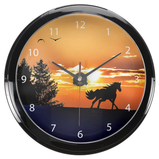 running horse  - sunset horse - horse aquarium clock