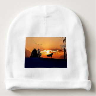 running horse  - sunset horse - horse baby beanie